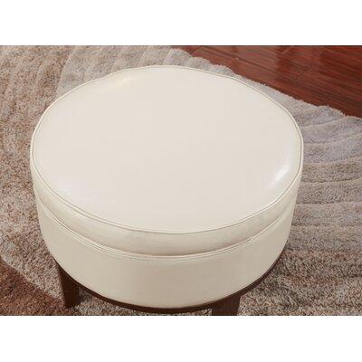 Premium Round Storage Ottoman Upholstery: White