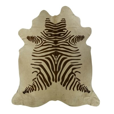Zebra Cowhide Brown/Beige Area Rug