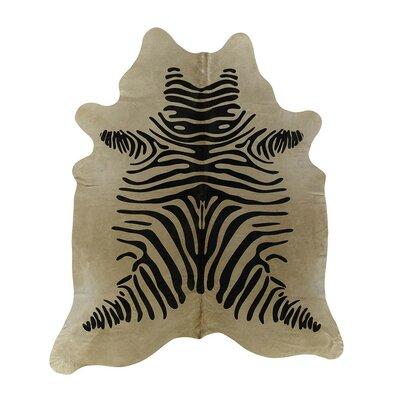 Zebra Cowhide Black/Beige Area Rug