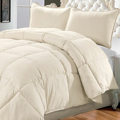 Down Alternative 3 Piece Comforter Set Size: King, Color: White Swan