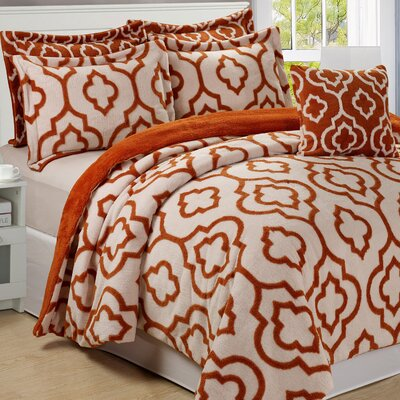 Jacquard 6 Piece Bedspread Set Size: King, Color: Burnt Orange