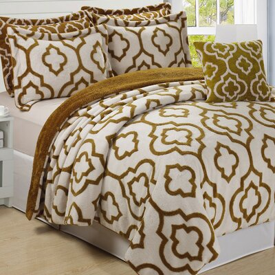Jacquard 6 Piece Bedspread Set Size: Queen, Color: Gold