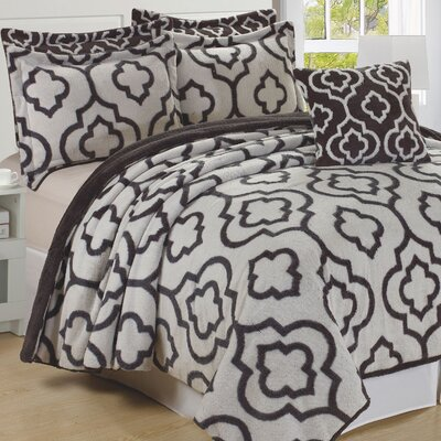 Jacquard 6 Piece Bedspread Set Size: Queen, Color: Gray