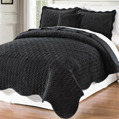 Square Diamond 4 Piece Coverlet Set Size: Queen, Color: Jet Black