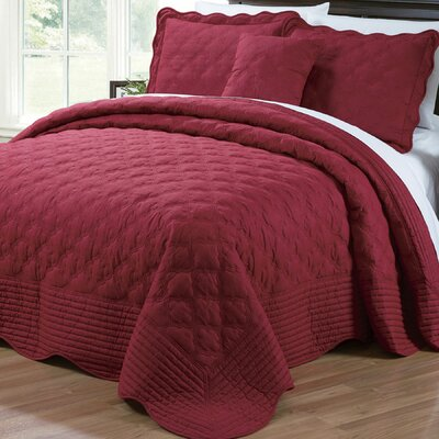 4 Piece Quilted Cotton Coverlet Set Color: Burgundy, Size: King