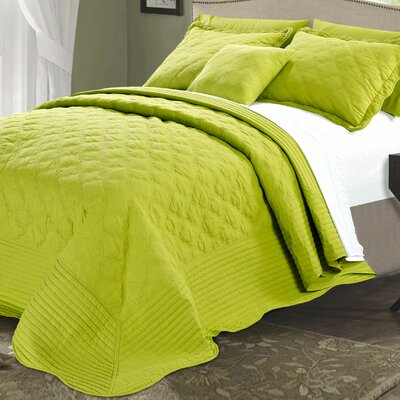 4 Piece Quilted Cotton Coverlet Set Color: Oasis Green, Size: King