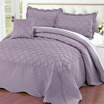 4 Piece Quilted Cotton Coverlet Set Size: King, Color: Sea Fog