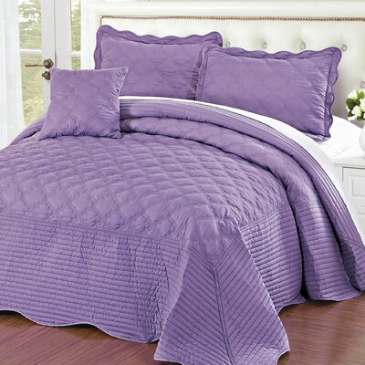 4 Piece Quilted Cotton Coverlet Set Size: Queen, Color: Regal Orchid