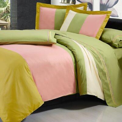 7 Piece Duvet Cover Set Color: Green/Beige/Rose Gold, Size: King