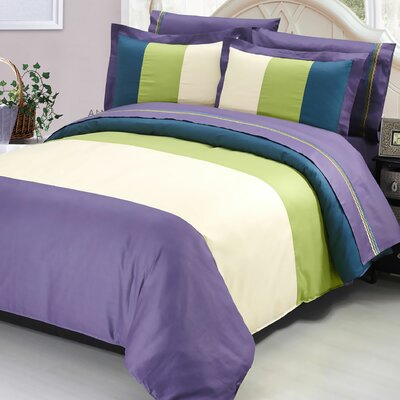 7 Piece Duvet Cover Set Color: Lilac Blue/Green/Beige, Size: Queen