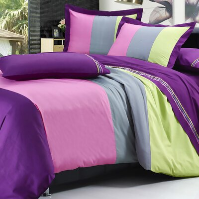 7 Piece Duvet Cover Set Color: Purple/Green/Gray/Rose, Size: Queen