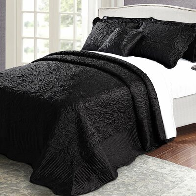 Quilted Satin 4 Piece Quilt Set Color: Black, Size: King