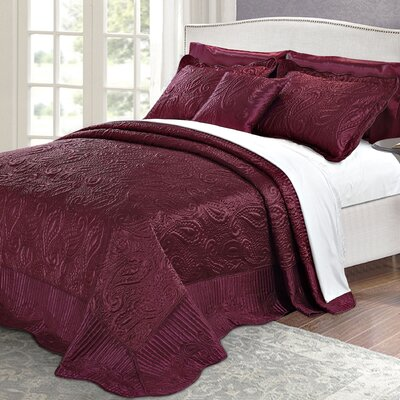 Quilted Satin 4 Piece Quilt Set Color: Burgundy, Size: King