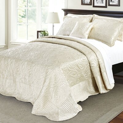 Quilted Satin 4 Piece Quilt Set Color: Champagne, Size: Queen