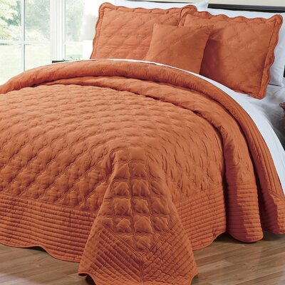 4 Piece Quilted Cotton Coverlet Set Color: Burnt Orange, Size: Queen