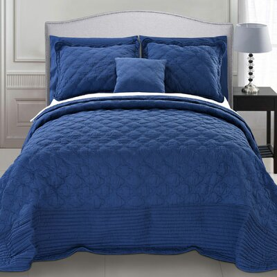 4 Piece Quilted Cotton Coverlet Set Color: Dark Blue, Size: Queen