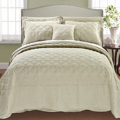 4 Piece Quilted Cotton Coverlet Set Color: Beige, Size: King