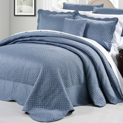 Matte Satin 4 Piece Matelass� Set Size: Queen, Color: Blue