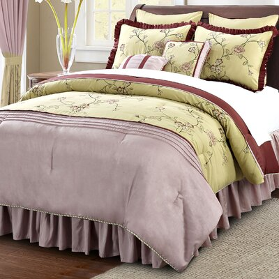 Terrace 12 Piece Comforter Set Color: Green/Wine, Size: King