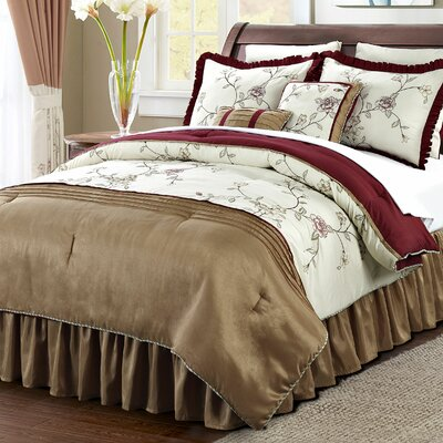 Terrace 12 Piece Comforter Set Size: Queen, Color: Beige/Burgundy