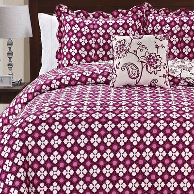 Paisley Flowers 4 Piece Reversible Coverlet Set Size: Queen, Color: Purple