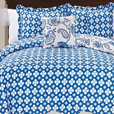 Paisley Flowers 4 Piece Reversible Coverlet Set Size: King, Color: Blue