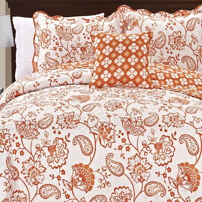 Paisley Flowers 4 Piece Reversible Coverlet Set Size: Queen, Color: Orange
