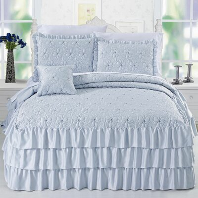 Ruffle Matte Satin 4 Piece Coverlet Set Color: Light Blue, Size: Queen