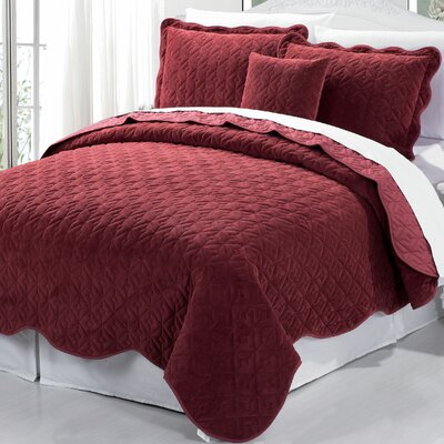 Square Diamond 4 Piece Coverlet Set Size: Queen, Color: Brick