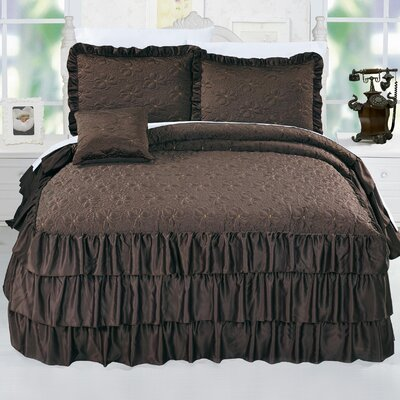 Ruffle Matte Satin 4 Piece Coverlet Set Size: King, Color: Chocolate