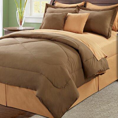 10 Piece Reversible Comforter Set Size: King, Color: Chocolate/Burnt Orange