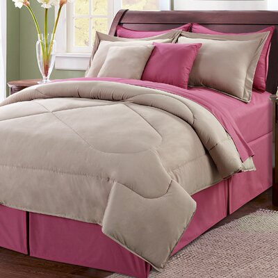10 Piece Reversible Comforter Set Size: King, Color: Taupe/Rose