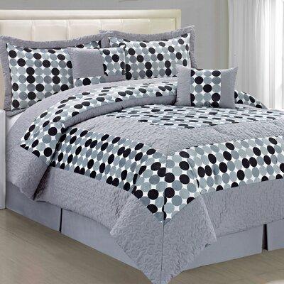 Big Dots 6 Piece Comforter Set Size: Queen, Color: Grey White