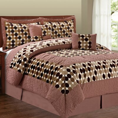 Big Dots 6 Piece Comforter Set Size: Queen, Color: Chocolate