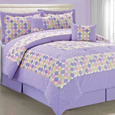Big Dots 6 Piece Comforter Set Size: Queen, Color: Pink Purple
