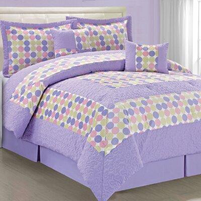 Big Dots 6 Piece Comforter Set Size: King, Color: Pink Purple