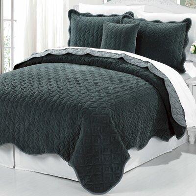 Square Diamond 4 Piece Bedspread Set Size: King, Color: Chestnut