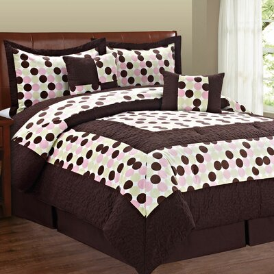 Big Dots 6 Piece Comforter Set Size: Queen, Color: Pink Green