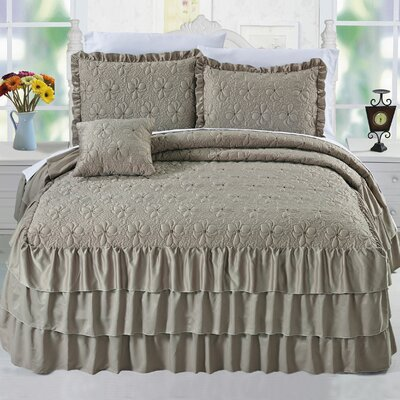 Ruffle Matte Satin 4 Piece Coverlet Set Color: Taupe, Size: Queen