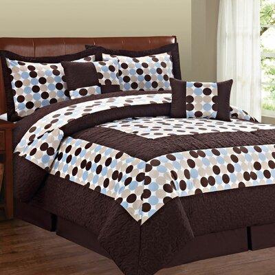 Big Dots 6 Piece Comforter Set Color: Blue Chocolate, Size: Queen
