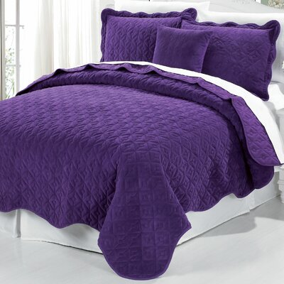 Square Diamond 4 Piece Coverlet Set Color: Purple, Size: King