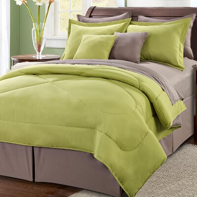 10 Piece Reversible Comforter Set Size: King, Color: Green/Taupe