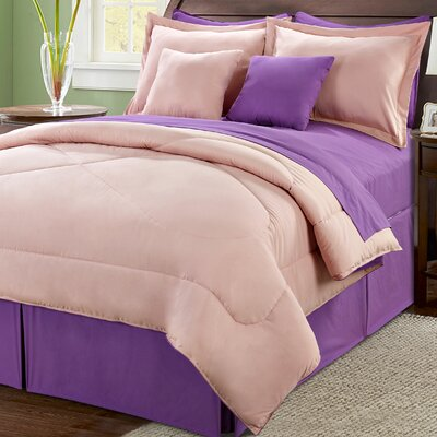 10 Piece Reversible Comforter Set Size: Queen, Color: Pink/Lilac