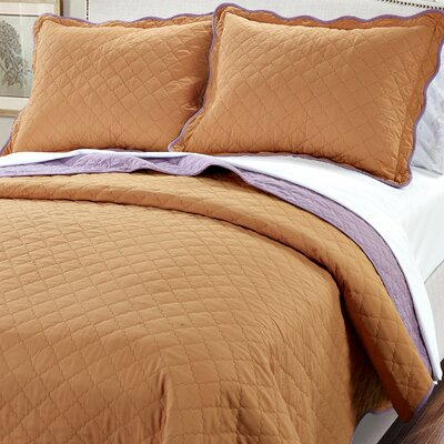 3 Piece Reversible Quilt Set Color: Burnt Orange / Purple, Size: King