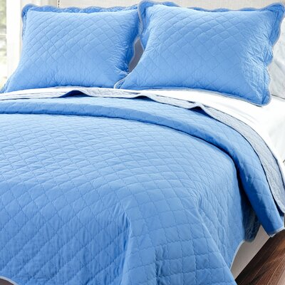 3 Piece Reversible Quilt Set Color: Two Tone Blue, Size: Queen