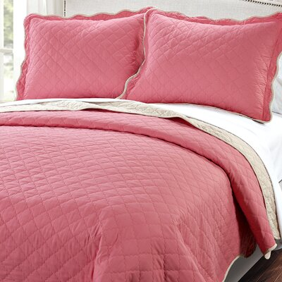 3 Piece Reversible Quilt Set Color: Peach Pink / Light Taupe, Size: King