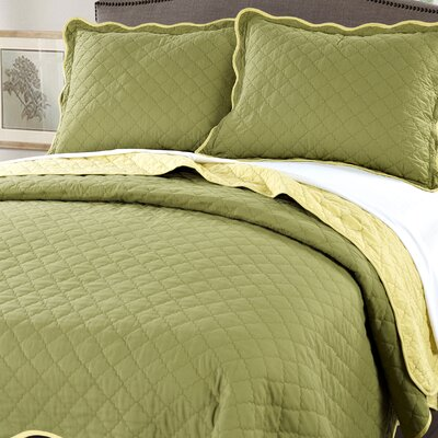 3 Piece Reversible Quilt Set Color: Green / Yellow, Size: Queen