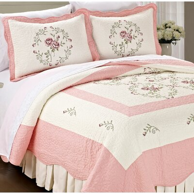 Roses Quilted 3 Piece Coverlet Set Color: Light Pink, Size: Queen
