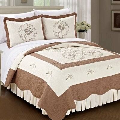 Roses Quilted 3 Piece Coverlet Set Size: King, Color: Taupe