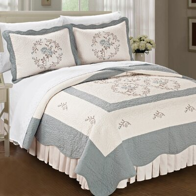 Roses Quilted 3 Piece Coverlet Set Size: King, Color: Gray